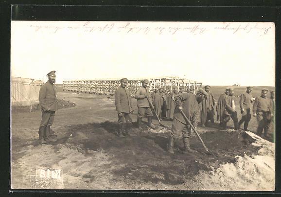 AK Russische Kriegsgefangene bei der Arbeit