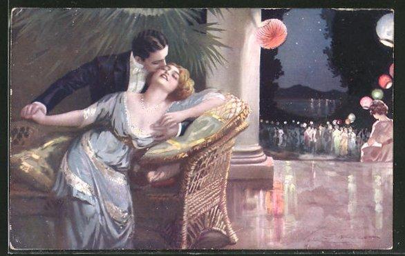 Künstler-AK G. Guerzoni: Liebespaar in leidenschaftlicher Pose abseits des nächtlichen Balls