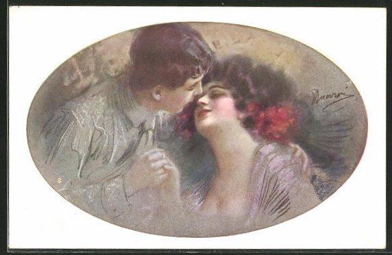 Künstler-AK G. Guerzoni: Junges Liebespaar neigt sich zum Kuss