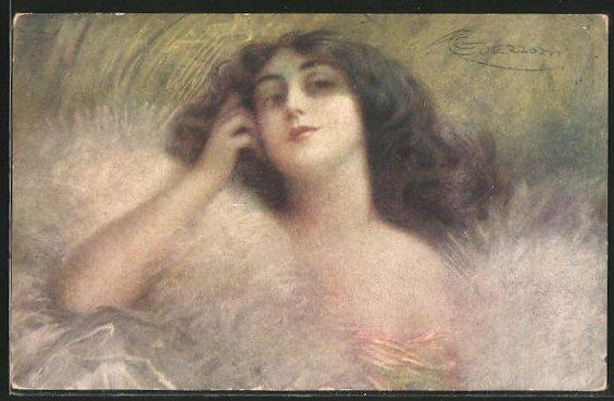 Künstler-AK G. Guerzoni: Junge Frau mit Federboa neigt den Kopf in den Nacken
