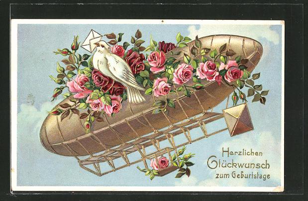 Präge-AK Zeppelin mit Rosen geschmückt und Brieftaube