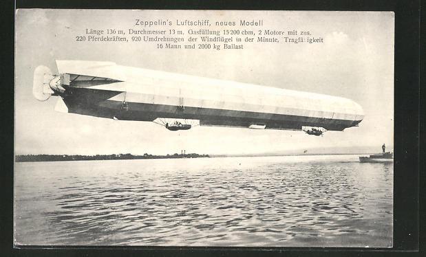 AK Zeppelin's Luftschiff über dem Wasser, neues Modell