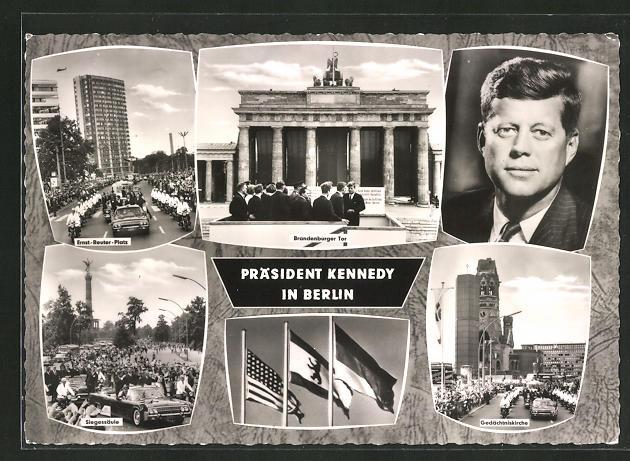 AK Berlin, Präsident der USA Kennedy zu Besuch in der Stadt, Ernst-Reuter-Platz, Gedächtniskirche