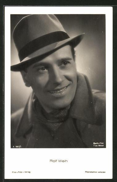 AK Schauspieler Rolf Weih mit Hut zur Seite schauend