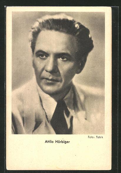 AK Schauspieler Attila Hörbiger im Anzug zur Seite schauend