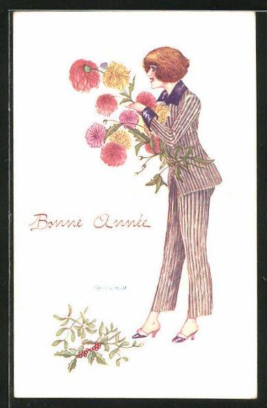 Künstler-AK Xavier Sager: Frau im Anzug mit Blumenstrauss
