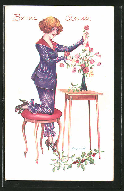 Künstler-AK Xavier Sager: Junge Frau richtet eine Vase mit Blumen her