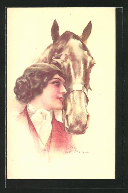 Künstler-AK Terzi: Junge Frau mit Pferd