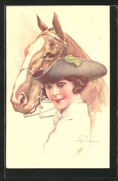 Künstler-AK Terzi: Frau steht neben einem Pferd