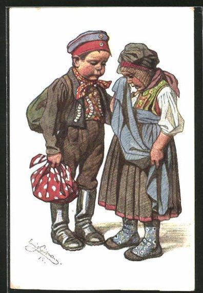 Künstler-AK Emil Beithan: Weinende Kinder