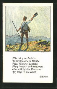 Künstler-AK Hans von Volkmann: Wanderer grüsst die Berge