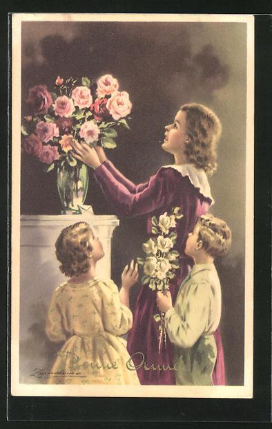 Künstler-AK A. Zandrino: Mutter und Kinder schmücken eine Vase mit Blumen
