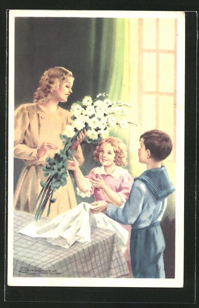 Künstler-AK A. Zandrino: Kinder bringen der Mutter Blumen