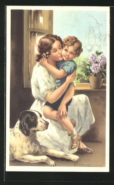 Künstler-AK A. Zandrino: Mutter mit Sohn im Arm am Fenster