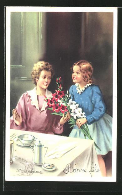 Künstler-AK A. Zandrino: Tochter schenkt der Mutter Blumen