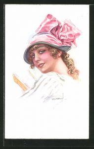 Künstler-AK Luis Usabal: junge Dame mit Hut mit Schleife