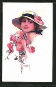 Künstler-AK Luis Usabal: junge Dame mit Hut und Rosen
