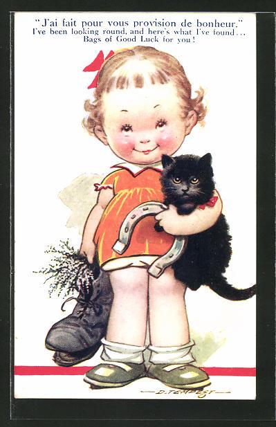 Künstler-AK Douglas Tempest: J'ai fait pour vous provision de bonheur..., Kind mit Glücksbringern