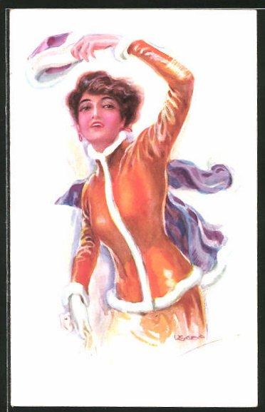 Künstler-AK Luis Usabal: junge Frau in eleganter Pelzkleidung