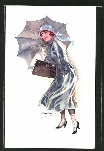 Künstler-AK Luis Usabal: junge Dame mit Regenschirm und Musikmappe