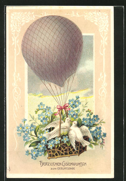 Präge-AK Weisse Tauben und Vergissmeinnicht im Heissluft-Ballon
