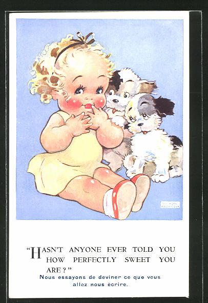 Künstler-AK Agnes Richardson: Mädchen mit ihren Hunden