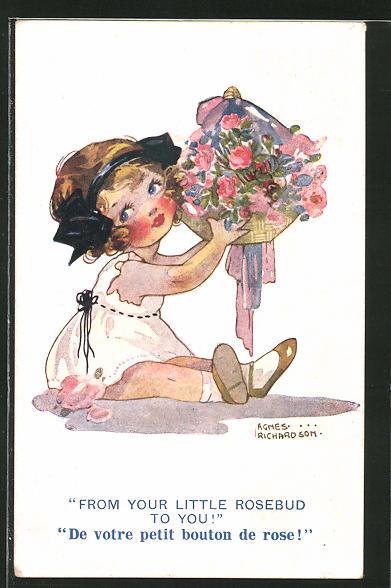 Künstler-AK Agnes Richardson: From your little Rosebud to you