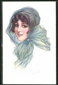 Künstler-AK sign. Reading: Junge Frau mit Kopftuch
