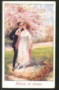 Künstler-AK M. Santino: Nature et amour, Liebespaar unter blühendem Baum