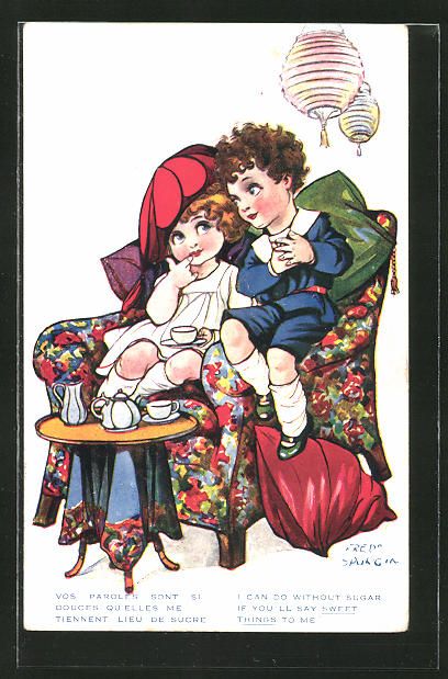 Künstler-AK Fred Spurgin: Kleines Paar beim Tee