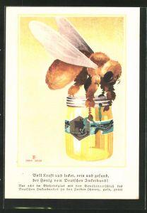 Künstler-AK Honig vom Deutschen Imkerbund, Biene trägt ein Honigglas