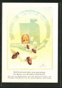Künstler-AK Honig vom Deutschen Imkerbund, Bienen auf dem Flug zum heimischen Korb