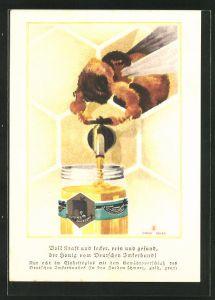 Künstler-AK Honig vom Deutschen Imkerbund, Biene befüllt ein Glas mit Honig