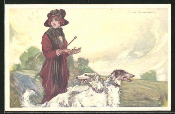 Künstler-AK Tito Corbella: Elegante Dame mit ihren Windhunden