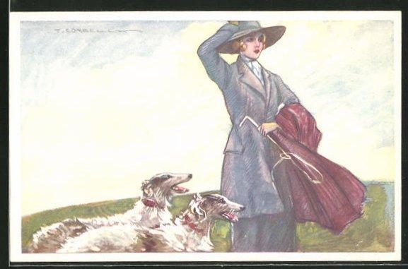 Künstler-AK Tito Corbella: Elegante Dame beim Ausflug mit ihren Windhunden