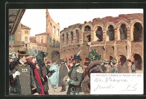 Künstler-AK sign. R. Tafuri: Verona, Listone di Piazza Vittorio Emanuele