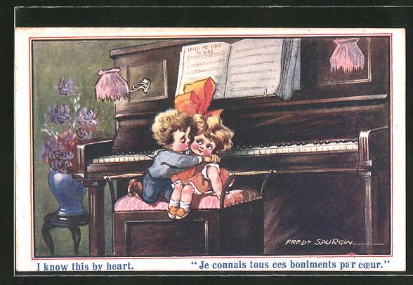 Künstler-AK Fred Spurgin: Stürmischer kleiner Pianist mit Herzdame