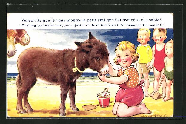 Künstler-AK Douglas Tempest: Kinder mit Esel am Strand
