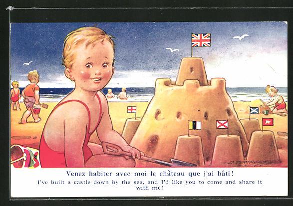 Künstler-AK Douglas Tempest: Knabe hat eine Sandburg am Strand gebaut