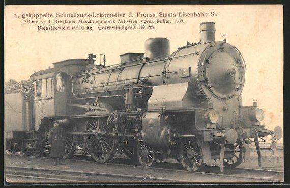 AK 2 /4 gekuppelte Schnellzugs-Lok der Preuss. Staats-Eisenbahn, Breslauer Maschinenfabrik AG