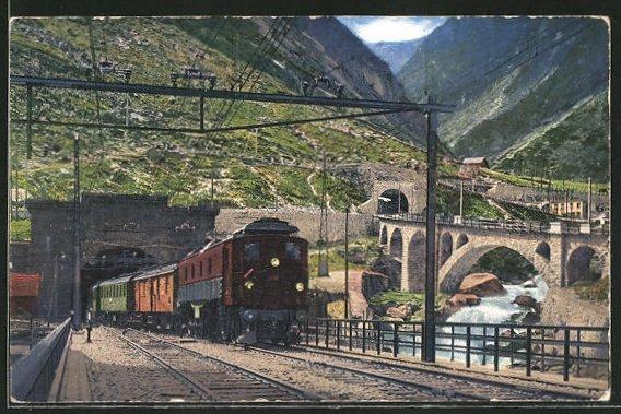 AK Gotthardtunnel, Elektr. Zug der schweizer Eisenbahn