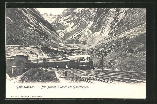 AK Gotthardbahn, der grosse Tunnel bei Goeschenen