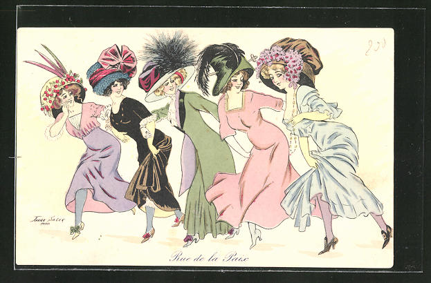 Künstler-AK Xavier Sager: Rue de la Paix, junge Damen in zeitgenöss. Mode