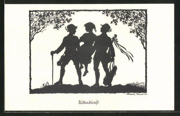 Künstler-AK Elsbeth Forck: Schattenbilder, Wandervögel, Ritterdienst