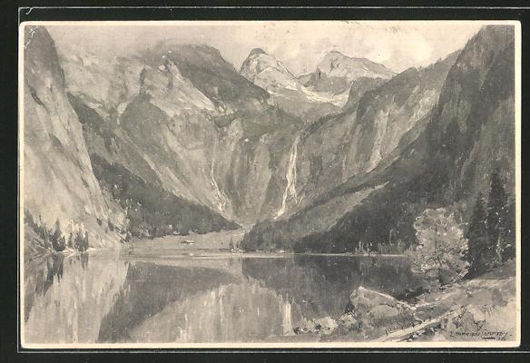 Künstler-AK Edward Theodore Compton: Berchtesgaden, Blick auf den Obersee