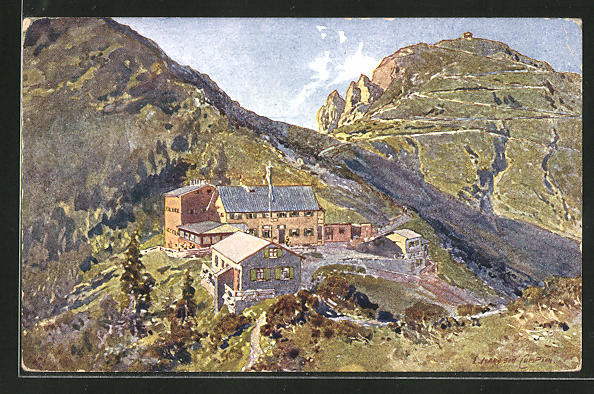 Künstler-AK Edward Theodore Compton: Unterkunftshaus am Herzogstand