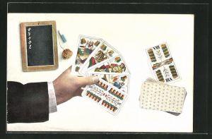 AK Hand mit Kartenspiel, Skat, Schreibtafel
