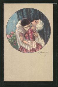 Künstler-AK A. Zandrino: Pierrot und junge Dame