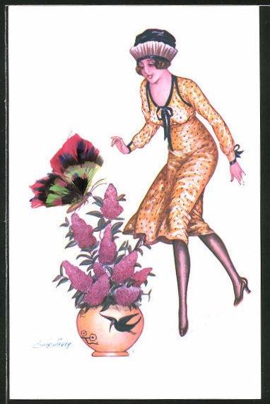 Künstler-AK Xavier Sager: Les Pappillons, Schmetterling mit Federflügeln und junge Dame in gelbem Kleid