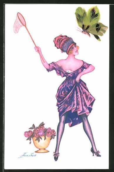 Künstler-AK Xavier Sager: Les Pappillons, Schmetterling mit Federflügeln und junge Dame mit Insektennetz